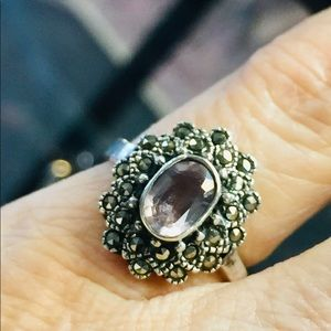 Sterling- Amethyst Marcasite ring